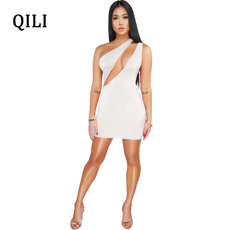 QILI Women Sexy One Shoulder Sleeveless Dress Sexy Hollow Out Solid Color Mini Dresses Short Wrap Party Club Dress Bodycon in Dresses from Women 39 s Clothing