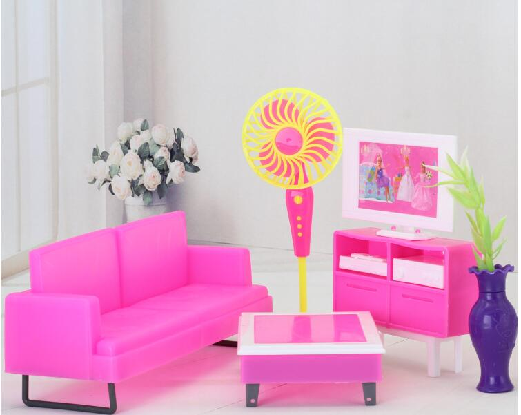 Original case for barbie furniture Dream room full bedroom princess bed small furniture sofa TV girl toy Set