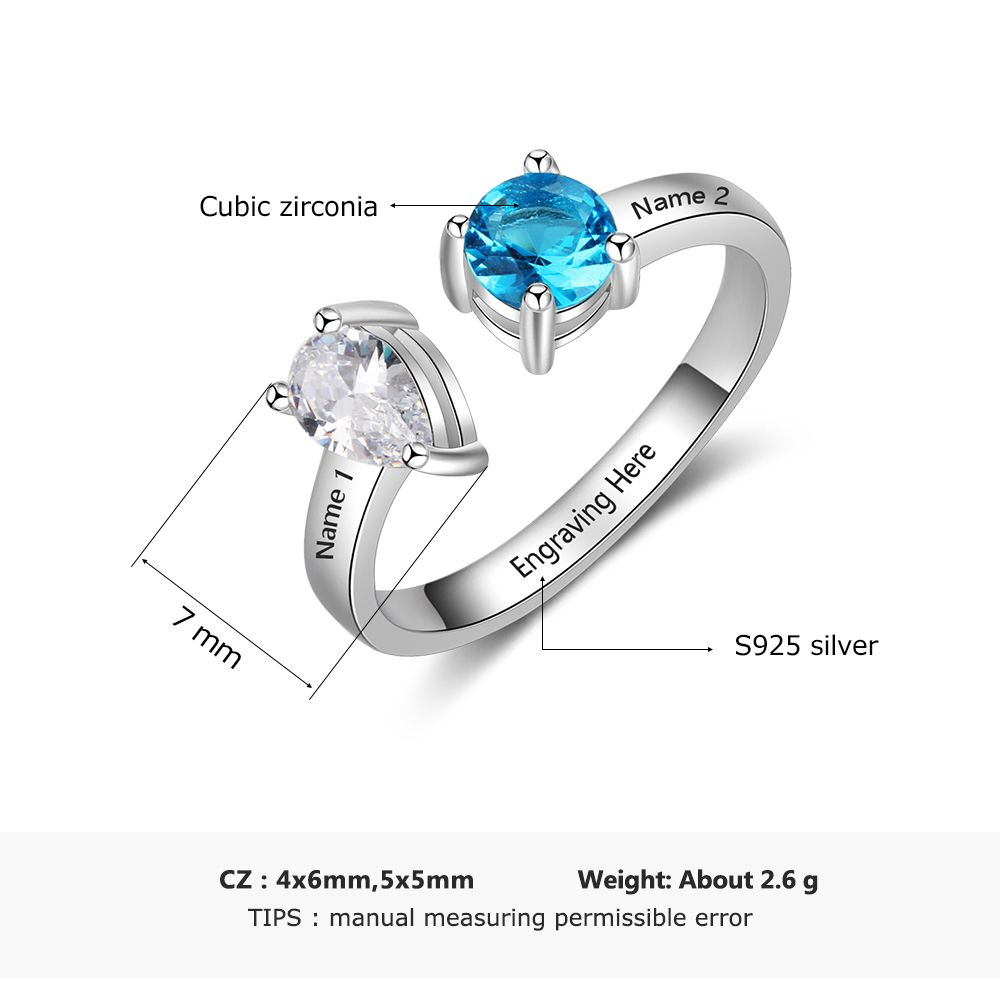 f72aee998 Aliexpress.com : Buy Personalized 925 Sterling Silver Open Ring with 12  Month Birthstone Engraved Name Ring Fine Jewelry Gift for Women(Lam Hub  Fong) from ...