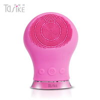 Silica Gel Electric Cleansing Instrument Wash Face Brush Seven Waterproof Ultrasound Pores Clean 2 Generation Rose Red