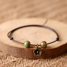 Little Green Beaded Brown Rope Flower Bracelet Women Handmade Elegant Bracelets & Bangles Girls Creative Simple Bangle Jewelry(China)