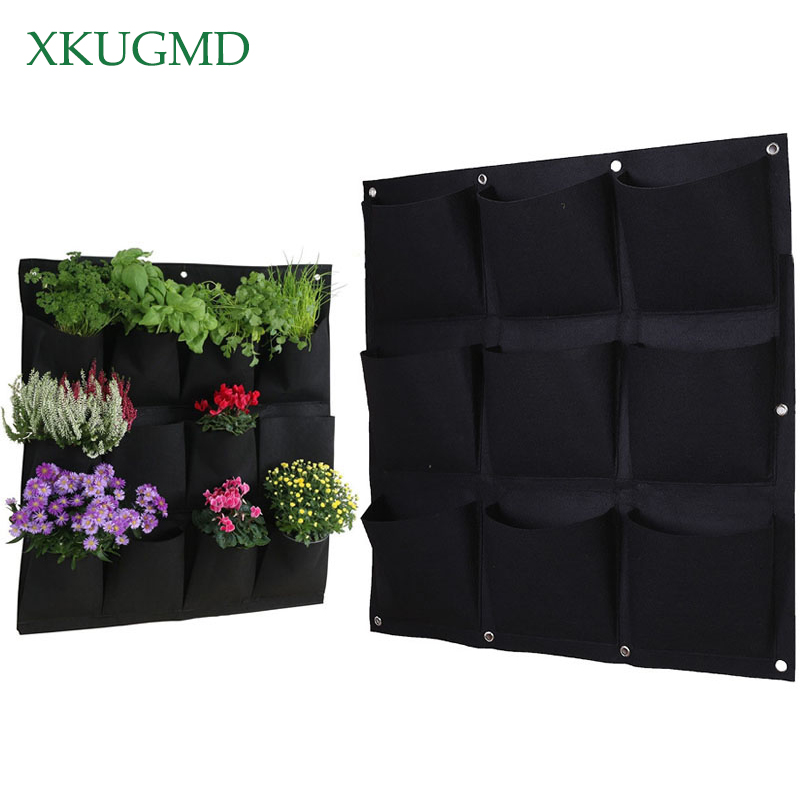 Wall Hanging Planting Bags 3/9/18/49/72 Pockets Green Grow Bag Planter Vertical Garden Vegetable Living Garden Bag Home Supplies