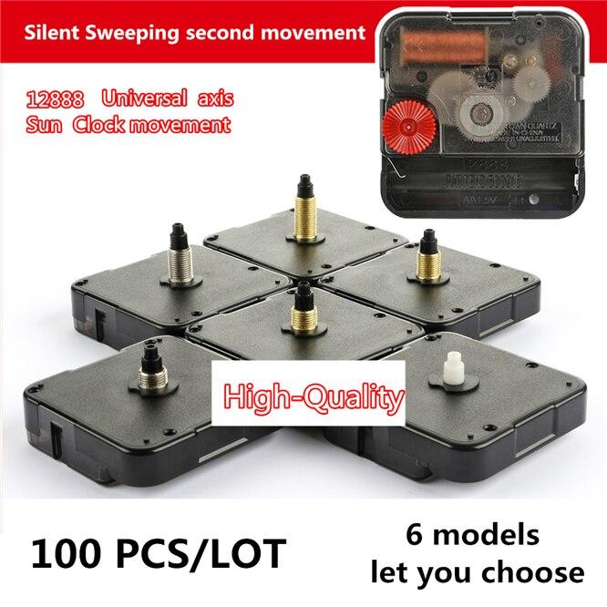 DHL 100 PCS/LOT DIY Silent Clock Mechanism SUN 12888 Clock Accessory Kits Sweep Quartz Movement 8 /11 /13 /16 /19 /22 Mm Shaft