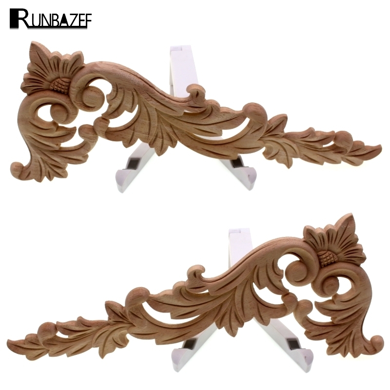 RUNBAZEF Floral Wood Carved Corner Applique Wooden Carving Decal Furniture Cabinet Rama drzwi Akcesoria do dekoracji ścian