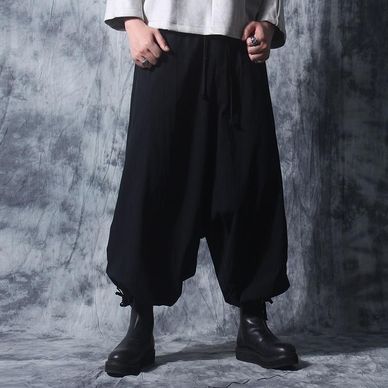 Wide leg Thai fisherman pants Yoga Harem pants Samurai aladin Art black cotton