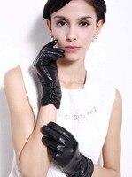 Kursheuel kadın dokunmatik manifatura lambskin deri eldiven kış çizgili uzun kollu iphone smartphone için