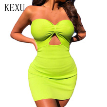 KEXU Sexy Sleeveless Hollow Out Ribbed Knitted Bodycon Dress Summer Elegnant Off Shoulder Slim Mini Fashion Party Wear