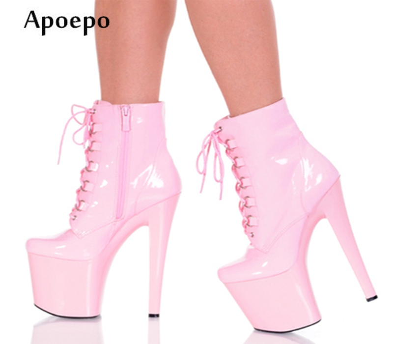 купить New Newest Sexy Stage High Heel Boots 2018 Platform Ankle Boots Super High 20CM Heels Lace-up Leather Boots Riding Boots недорого