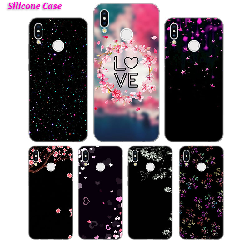 Silicone Case Pink flowers art for Huawei P Smart 2019 Plus P30 P20 P10 P9 P8 Lite Mate 20 10 Pro Lite Nova 3i Cover in Fitted Cases from Cellphones Telecommunications