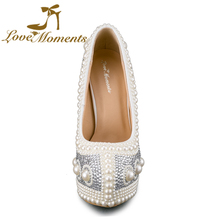 Love Moments pearls wedding shoes high heels platform white silver Wedding dress  shoes Christmas banquet shoes 34-43