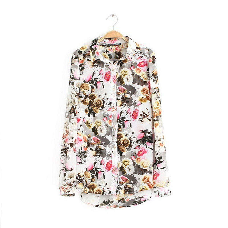 Vintage European <font><b>Country</b></font> Style <font><b>Floral</b></font> <font><b>Print</b></font> Blouse Casual Long Chiffon Shirts 2016 Women <font><b>Tops</b></font> Fashion Winter Spring Chemisiers