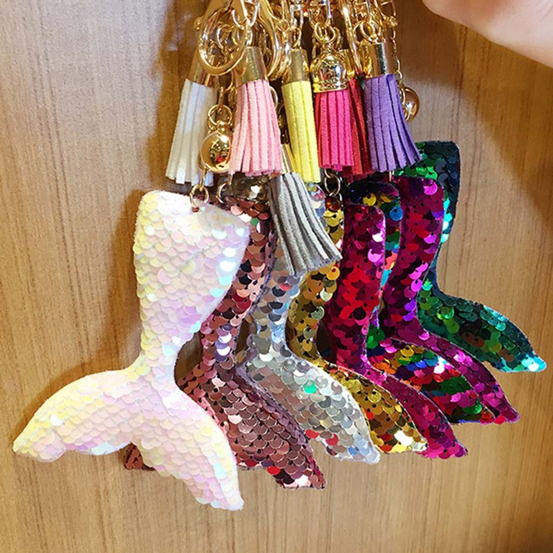 Colorful Double Sided Sequins Mermaid Tail Keychain Charms Paillette Pendants Keyring DIY Mermaid Keychain Jewelry Accessories