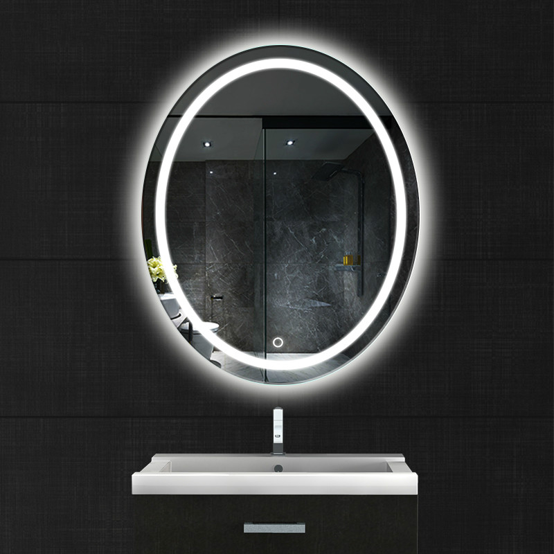 Oval bathroom LED lamp mirror wall hanging bathroom with light makeup mirror modern Touch switch bath mirror mx12151130 1