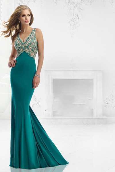 V Neck Sweep Train Prom Party   Dress   Designer Backless Mermaid Beaded   Evening     Dress