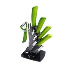Gute Grade Keramik Messerset Messer Halter Keramik Peeler Schwarz klinge Grün Griff Handgemachte Küchenmesser 6 Stück Set Beste geschenk