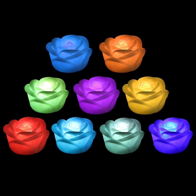 10 Pcs Colorful LED night lamp Romantic Rose Flower night light Color changed Lamp LED night lights Interior Design HOT SALES fenix hl05 multipurpose led headlamps colorful night lights
