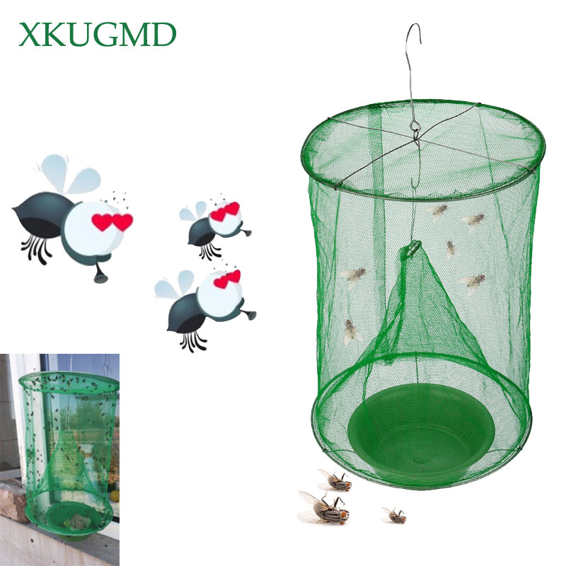 2PCS Hot Summer Hanging Flycatcher Outdoor Collapsible High Efficiency Eliminate Flies Cage Environmentally Friendly Non toxic.-in Traps from Home & Garden
