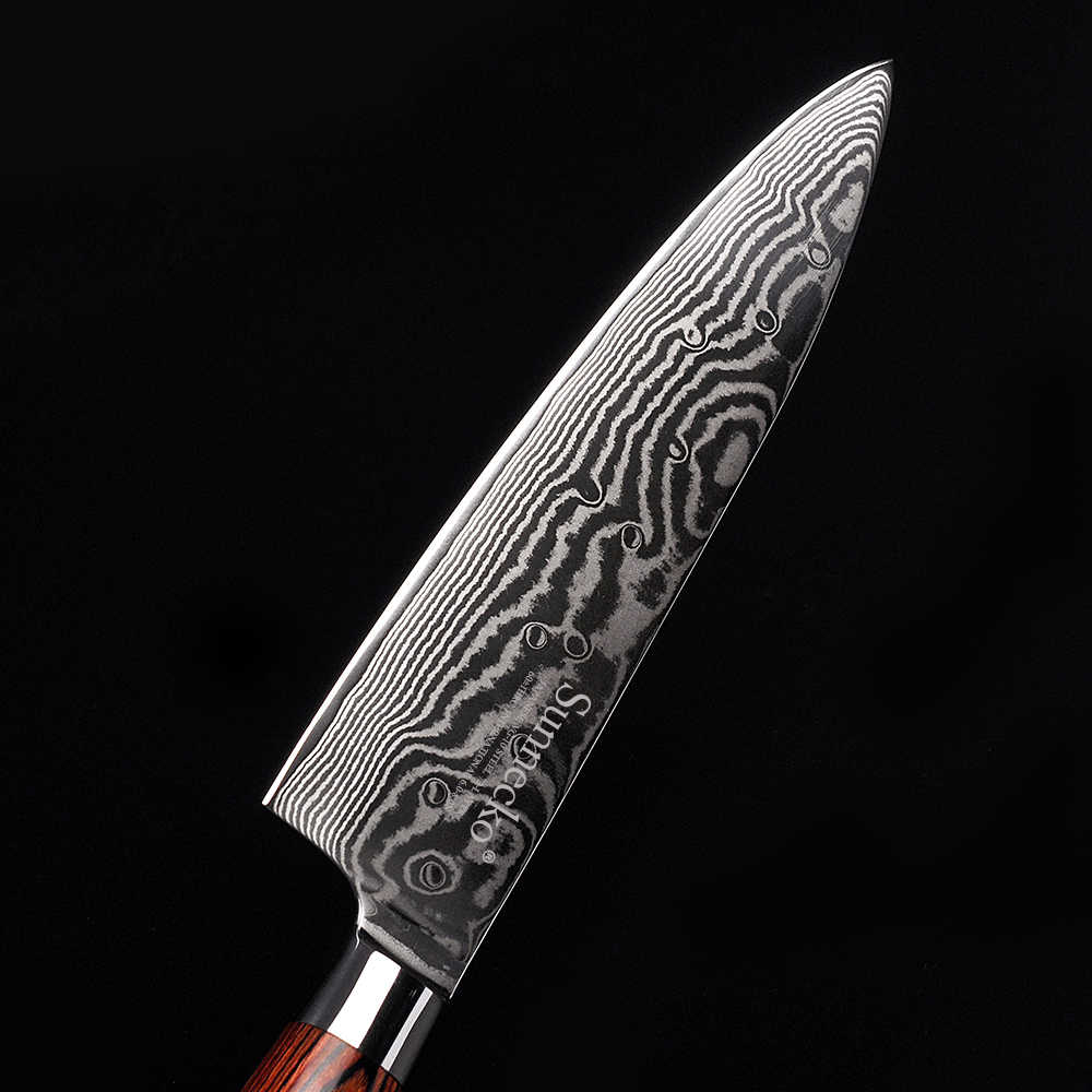 """SUNNECKO 8"""" inch Chef's Knife Kitchen Knives Japanese VG10 Damascus Steel Cutting Tools Sharp Strong Blade Pakka Wood Handle"""