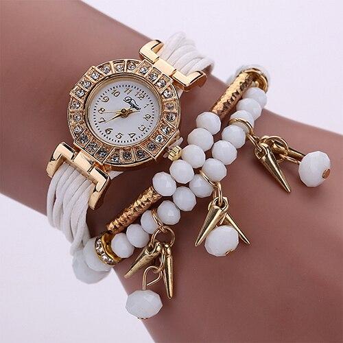 Women's Multilayer Knitted Little Pepper Beads Pendant Rhinestone Bracelet Watch