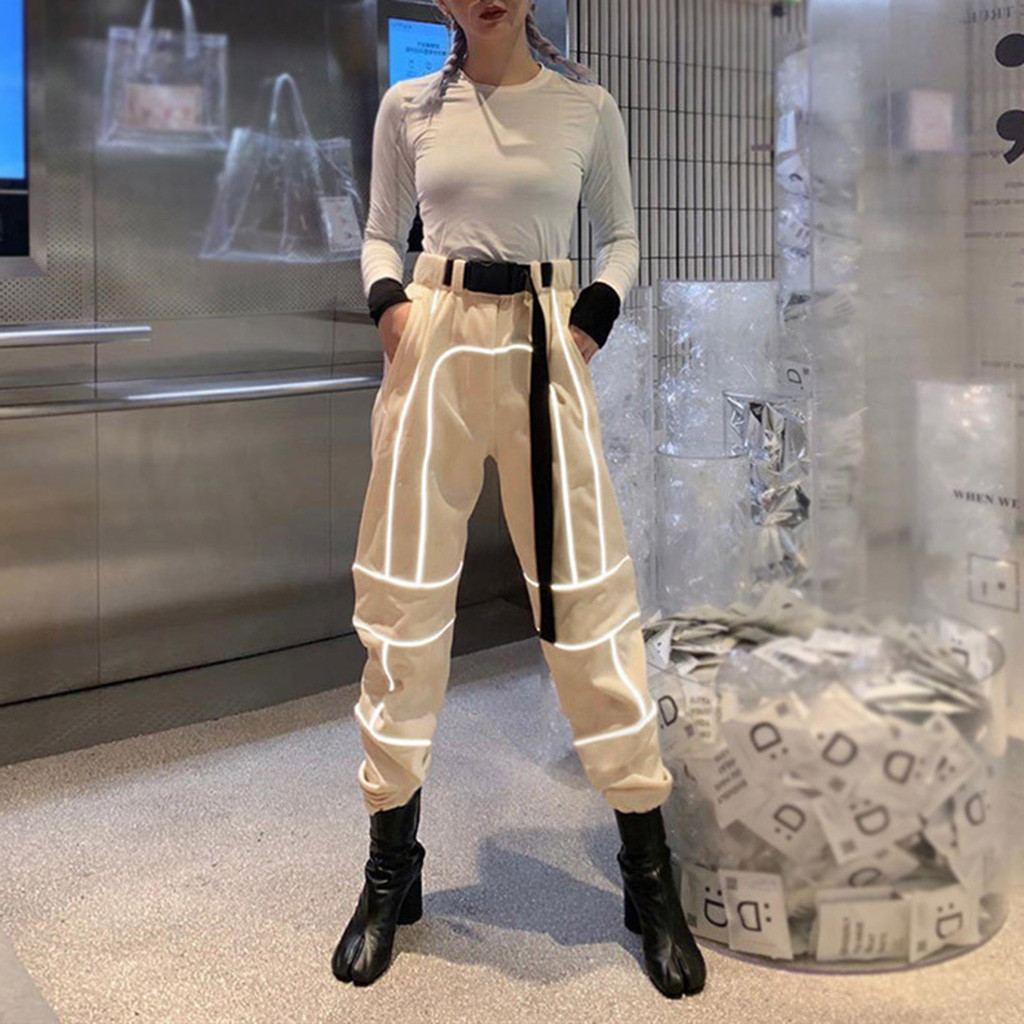 Pants Women's All Year Round Best Selling Reflective Stitching Loose Casual Overalls Pantalones Mujer Cintura Alta