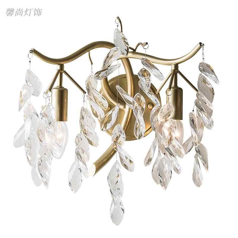 Классическая хрустальная люстра настенный светильник золотой кристаллический настенный светильник светодиодный фойе гостиная прикроватный стеклянный Хрустальный настенный светильник