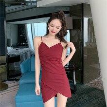 2019 summer new Korean Knit sexy V-neck low-cut Slim irregular bag hip strap dress