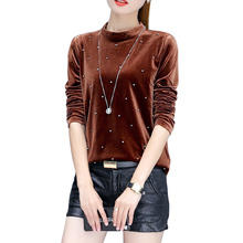 Harajuku women t-shirt slim long sleeve stand collar velvet t shirt female tops plus size 3XL fashion beaded soft velour tshirt