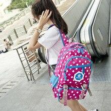 2017, Новая мода точка холст рюкзак Водонепроницаемый холст леди ноутбук Рюкзаки Женский Повседневная сумка сумки Mochila Feminina