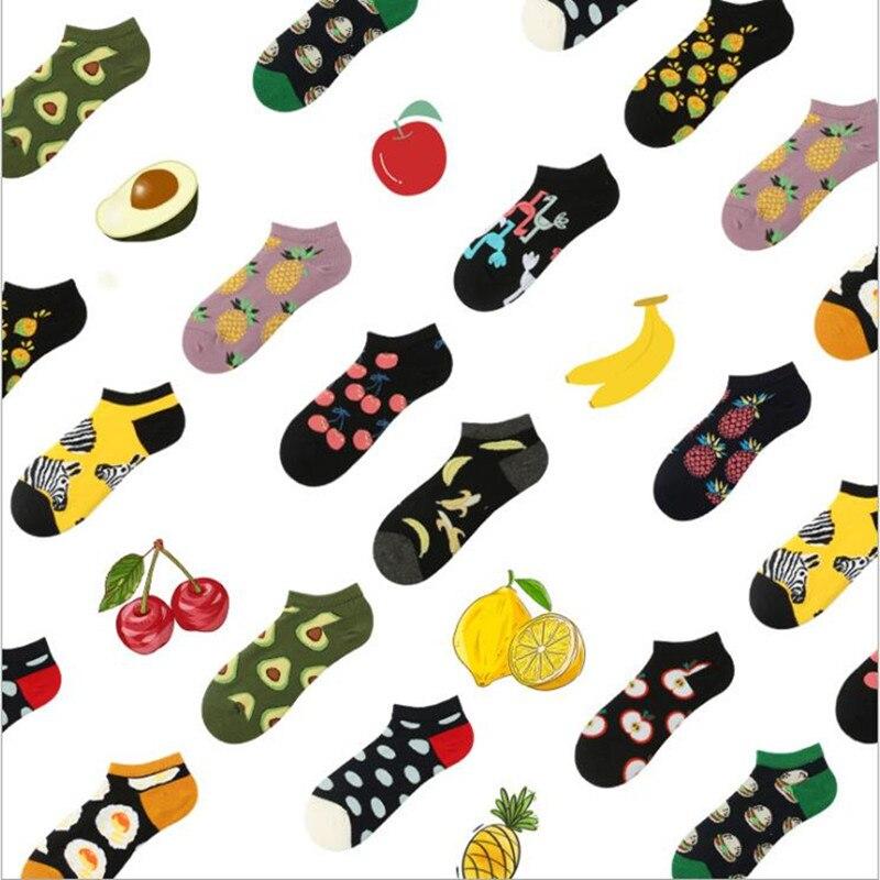 2019 Korean style summer new mulher ankle   socks   chausette cartoon fruit animal pattern   socks   fashion funny ladies short   socks
