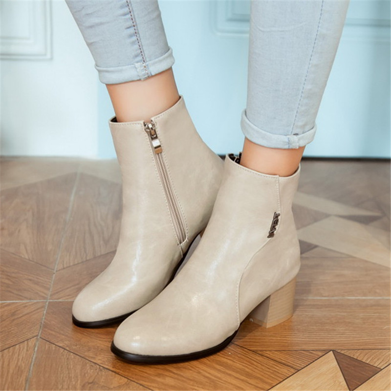 Size 34-45 Fashion Autumn Winter Zipper Women boots High heels Ladies Sapatos Martin Leather boots Square heel Snow Boots Shoes