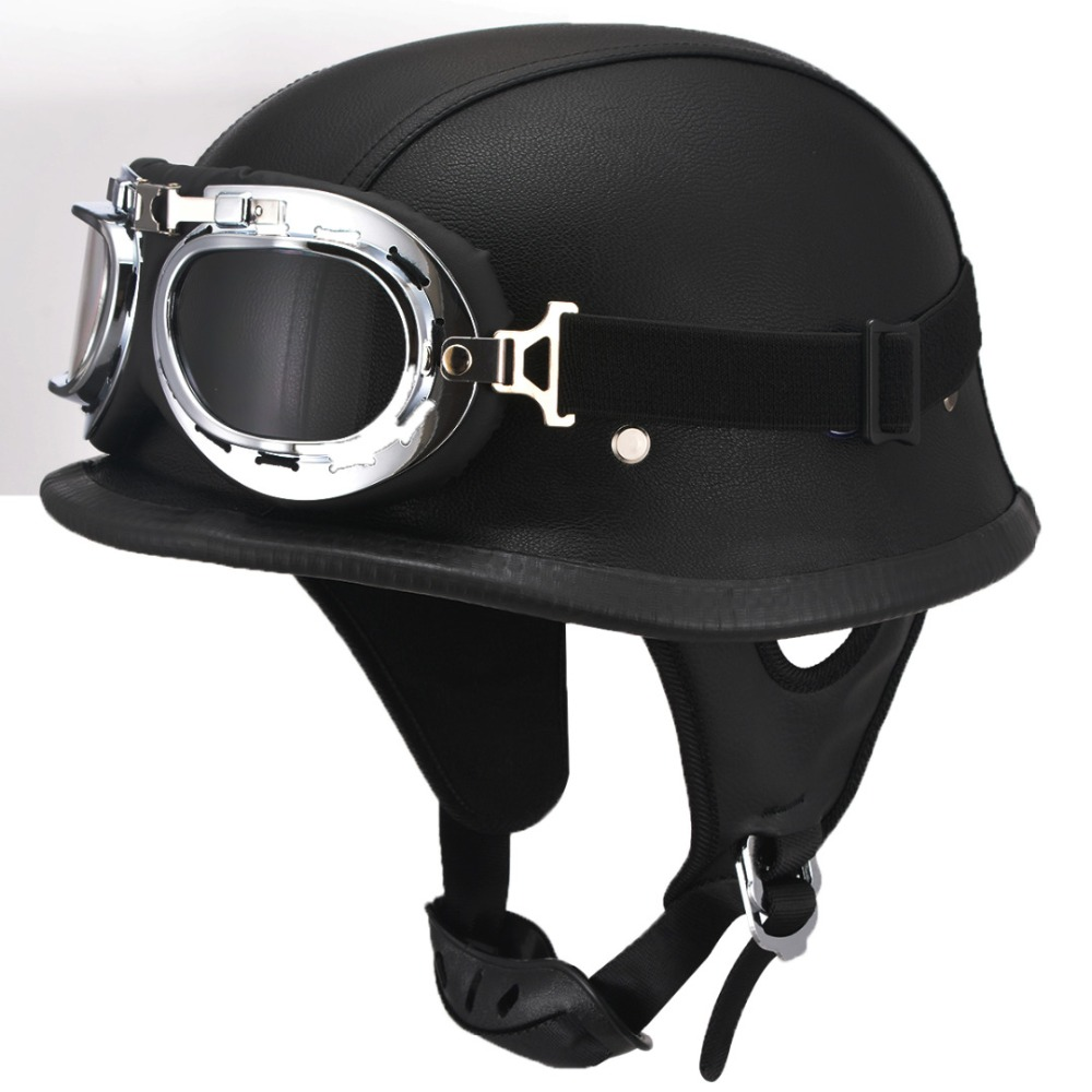 MAYITR Black Motorcycle DOT German Style Half Helmet + Goggles for Harley Biker Pilot Unisex Motorbike Helmets M/L/XL Size nema23 2nm 283oz in integrated closed loop stepper motor with driver 36vdc jmc ihss57 36 20