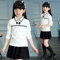 Мода кружева с длинным рукавом девушки блузки осень 2016 детей верхняя одежда детская одежда 12 года школа для белых рубашек
