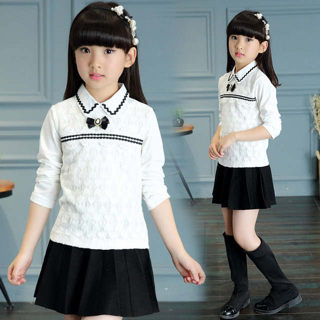 Moda de encaje muchachas de la manga larga blusas otoño 2016 niños tops ropa de niños ropa de 12 años blanco camisas de la escuela