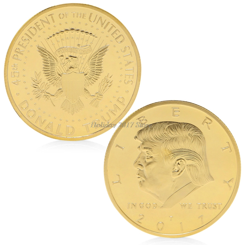 2017 America 45th President Donald Trump Gold Plated Commemorative Coin Novelty Token #20/12