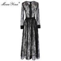 MoaaYina Hohe Qualität Fashion Designer Runway Kleid sommer Frauen langarm Mesh Spitze Geraffte Casual urlaub Dünne Spitze Kleid