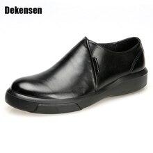 Роскошный Мужские туфли из натуральной кожи оксфорды платье Мокасины слипоны Новая мужская повседневная обувь платье мужские деловые туфли