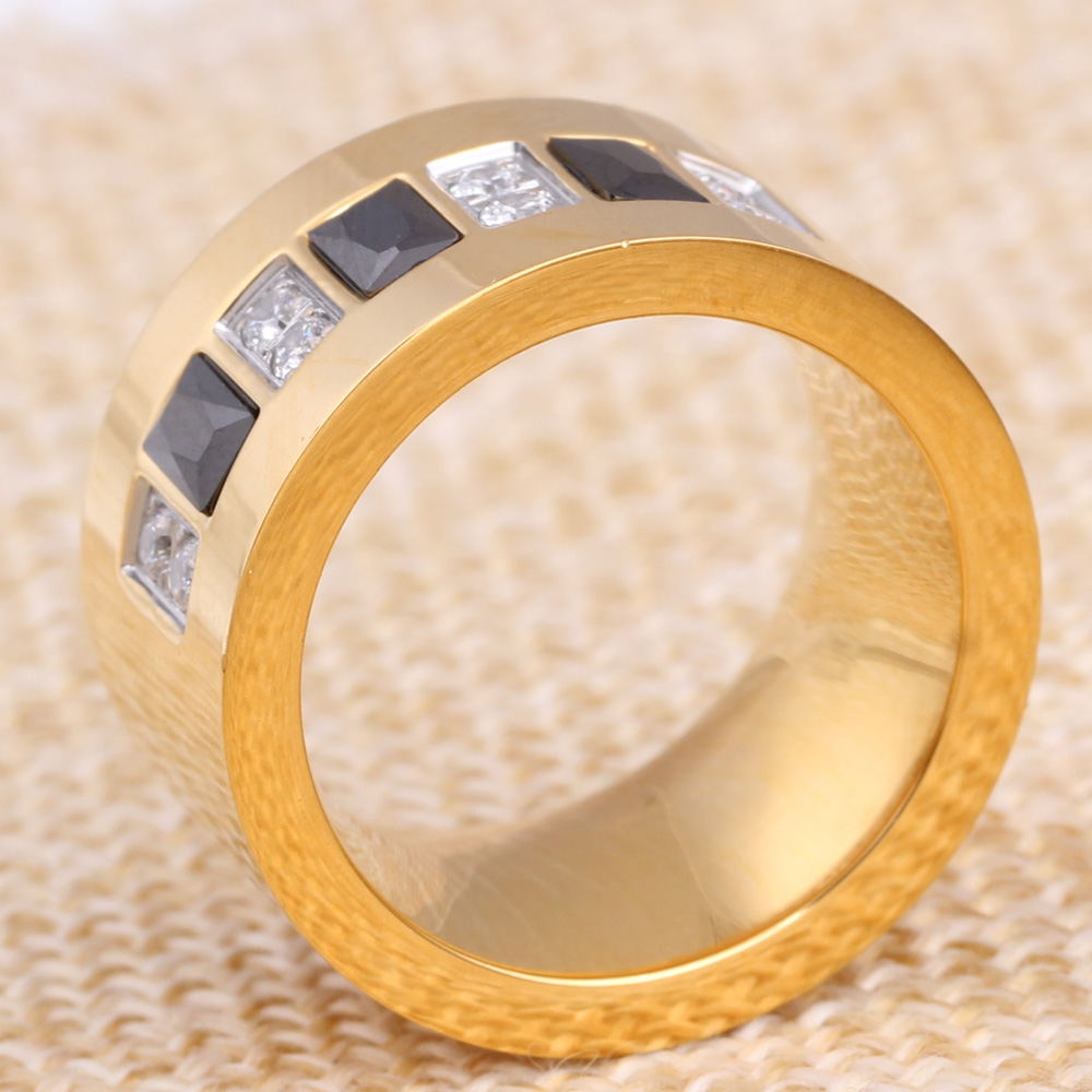 Fashion Gold Color 316L Stainless Steel Wedding Ring With Black and - Fashion Jewelry - Photo 5