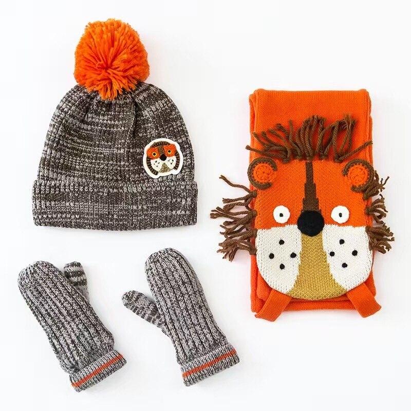 83e2b87b209 2016 Lion Embroidery Cotton Baby Hat +Scarf +Gloves Set Crochet Baby  Beanies Kids Fall Winter Cap Handmade Windproof Earmuff Cap
