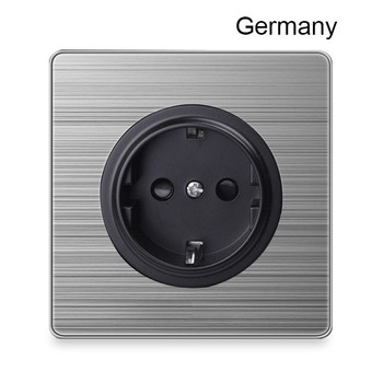 1 2 3 Gang 1 2 Way Bright home switch socket type 86 wall socket with led brushed stainless steel Germany France US UK socket 14