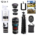 Universal 12in1 Phone Lenses 12X Telephoto Zoom Lentes Telescope Tripod Wide Angle Macro Fisheye Lens For iPhone Samsung Sony