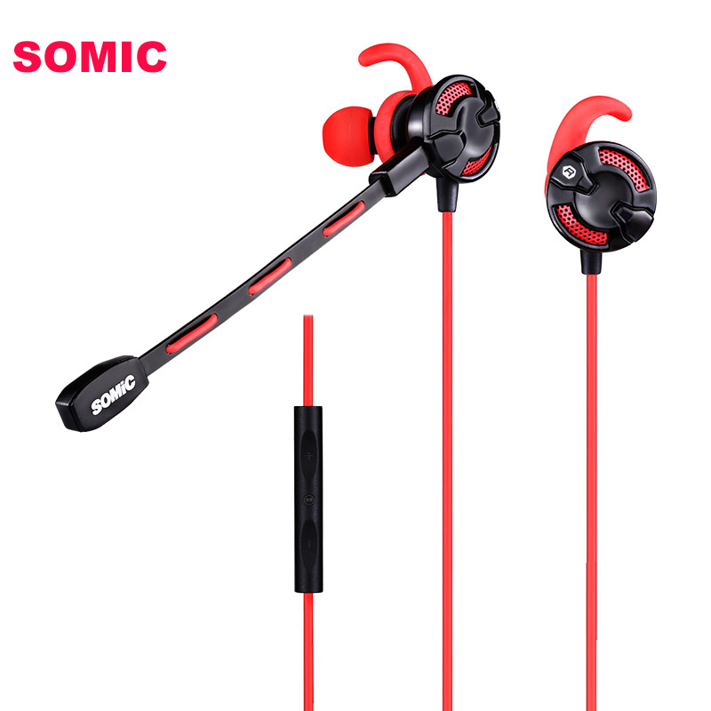 SOMiC G618 Original In-ear Video Gaming Earbud Earphone for PS4 XBOX ONE Mobile Phone DJ Music with Detachable Mic xbox music mixer