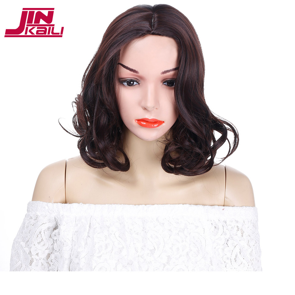 JINKAILI WIG Short Dark Brown Bob Wigs for Women Heat Resistant Synthetic Bob Hair Wigs Short Wavy Curly Style Hair Pieces