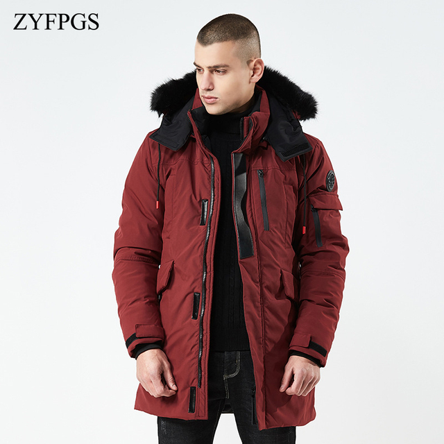 ZYFPGS 2018/ss New Winter Jackets for Men Warm Jacket with Hat Cotton Casual Men's Solid Park Bomber Jacket Clothes Fashion 820 1