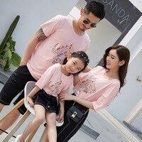 Family Clothing 2018 Summer Korean Family Matching Clothes Fashion Beach Sets Clothes Kids Cartoon T Shirt+denim Short/skirt Set