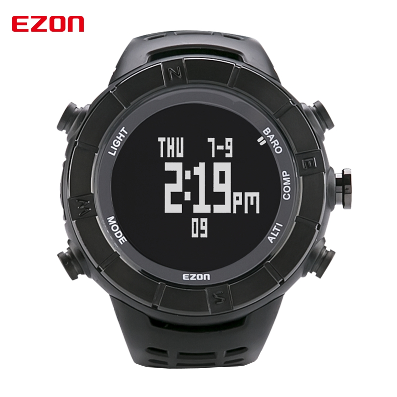 EZON Altimeter Barometer Thermometer Compass Weather Forecast Outdoor Men Digital Watches Sports Climbing Hiking Wristwatch top brand ezon h506 outdoor hiking mountain climbing sport watch men s digital watches altimeter compass barometer