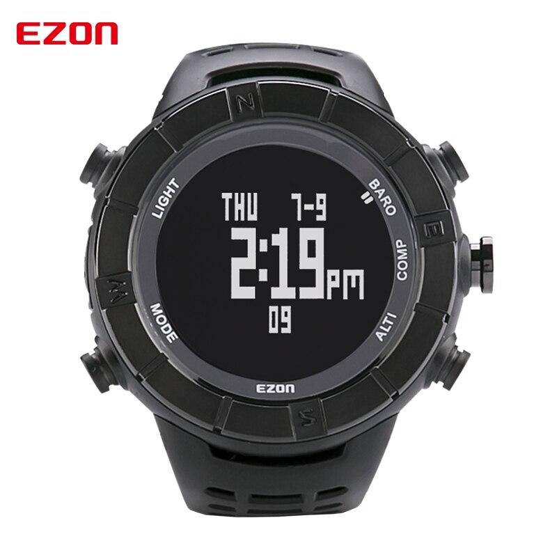 2d580339461 EZON altímetro barómetro termómetro Brújulas pronóstico del tiempo al aire  libre hombres Relojes digitales deportes escalada senderismo reloj