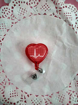 Red color Love Heart  Shape  Heart Beating Nurse Dotcor  Retractable ID Badge Reel  5pcs - DISCOUNT ITEM  15% OFF All Category