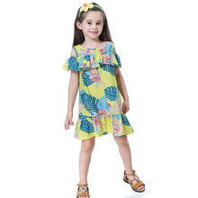 цена на Children Clothes 2019 Summer Dresses for Girls Off Shoulder Print Party Princess Kids Dress for Girls Clothing 3 4 5 6 7 8 Years