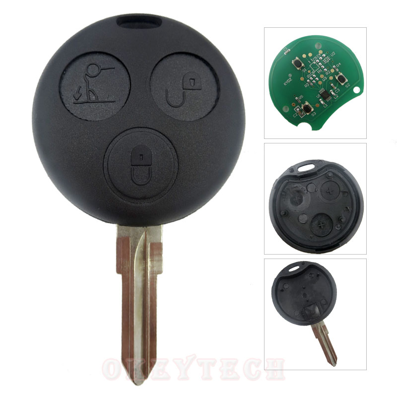 Okeytech 3 Buttons Smart Remote key 433MHz Remote Key Fob Blade For Benz Key Smart Fortwo Forfour Roadster Free shipping new updating smart key for benz 3 button 433mhz 315mhz easy to create a new key for mecerdes good quality