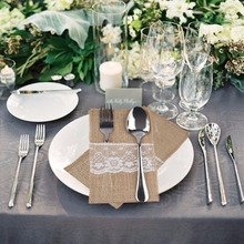 OurWarm 50pcs Burlap Lace Wedding Disposable Tableware 11x21cm Fork Knife Holder Tableware Pouch Disposable Dishes